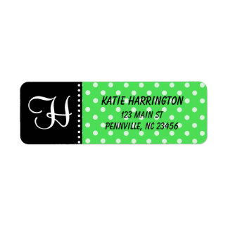 Monogram Black and Lime Green Return Address Label