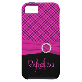 Monogram Black and Pink Plaid iPhone 5 Vibe Case For The iPhone 5