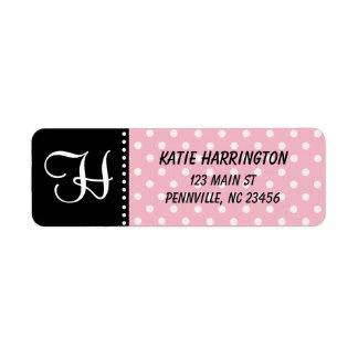 Monogram Black and Pink Return Address Labels