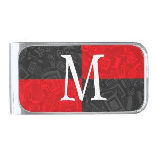 Monogram Black and Red Checker Pattern Money Clip Silver Finish Money Clip