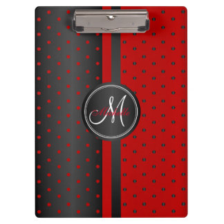 Monogram Black and Red Polka Dots Clipboard