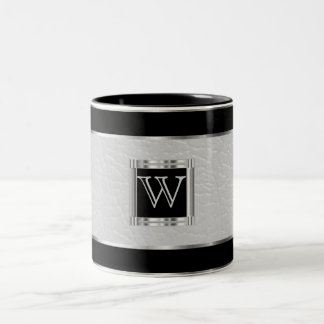 Monogram Black and Silver and Faux Leather Two-Tone Coffee Mug