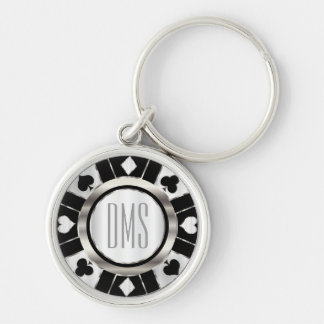 Monogram Black and Silver Las Vegas Style Silver-Colored Round Keychain