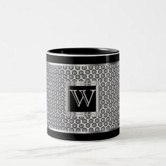 Monogram  Black and Silver Metal Mesh Two-Tone Coffee Mug