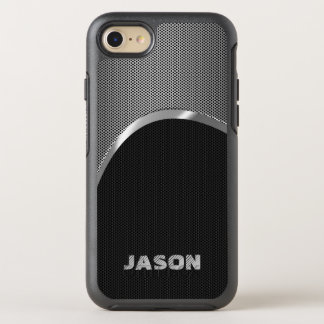 Monogram Black And Silver Metallic Mash Pattern OtterBox Symmetry iPhone 8/7 Case