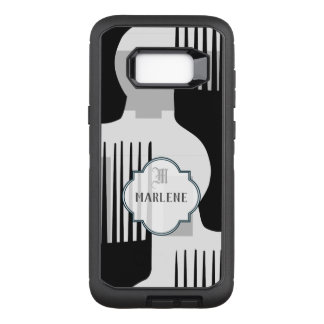 Monogram black and white afro comb OtterBox defender samsung galaxy s8+ case