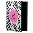 Monogram Black and White and Hot Pink Zebra Print Powis iPad Air 2 Case