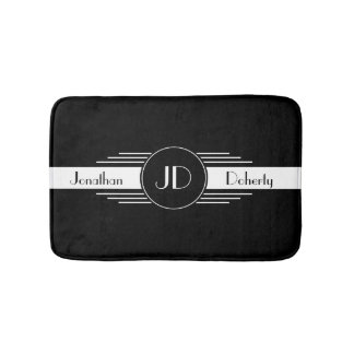 Monogram Black and White Art Deco Bath Mat