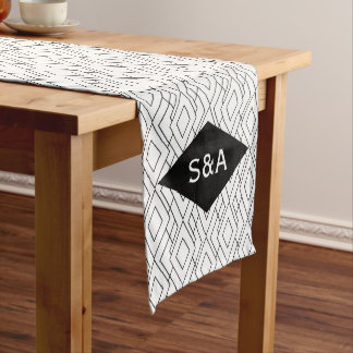 Monogram Black and White Art Deco Wedding Long Table Runner