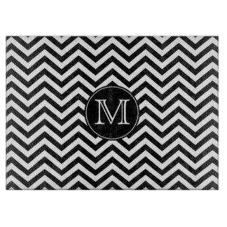 Monogram Black and White Chevron Cutting Board