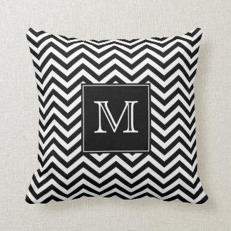 Monogram Black and White Chevron Throw Pillow
