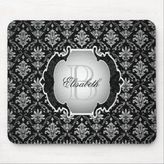 Monogram Black and White Damask Mouse Pad