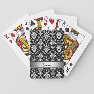Monogram Black and White Damask Playing Cards