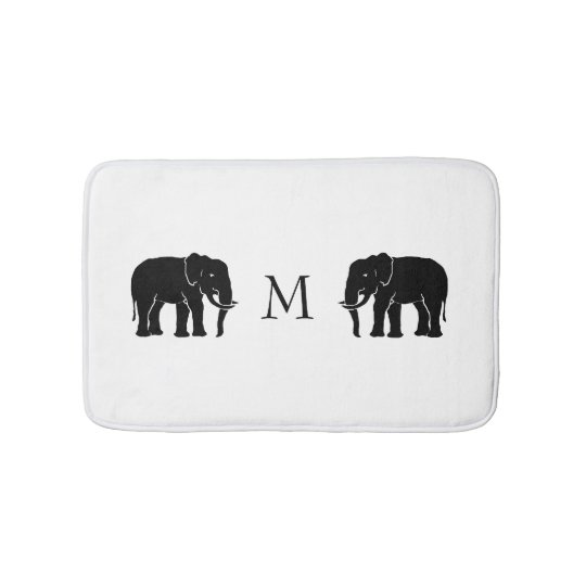 Monogram Black and White Emblematic Elephants Bath Mat