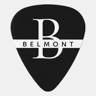 monogram black-and-white guitar pick