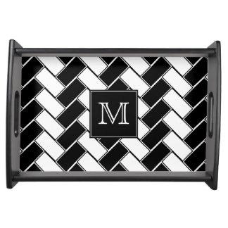 Monogram Black and White Herringbone Serving Tray