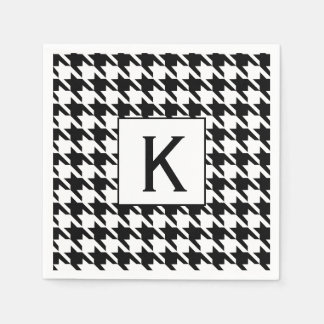 Monogram Black and White Houndstooth Pattetrn Disposable Napkin