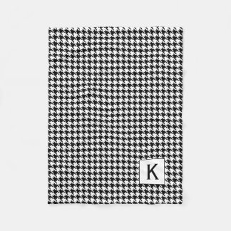 Monogram Black and White Houndstooth Pattetrn Fleece Blanket