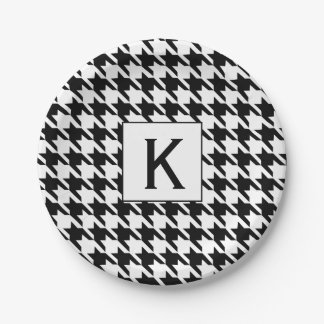 Monogram Black and White Houndstooth Pattetrn Paper Plate