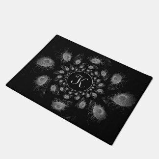 Monogram Black And White Kaleidoscope Sunflowers Doormat
