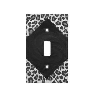 Monogram Black and White Leopard Print Light Switch Plates