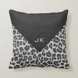 Monogram Black and White Leopard Print Throw Pillow