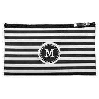 Monogram. Black and White Nautical Theme. Makeup Bag