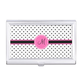 Monogram Black and White Polka Dot with Hot Pink Business Card Holder
