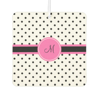 Monogram Black and White Polka Dot with Hot Pink Car Air Freshener
