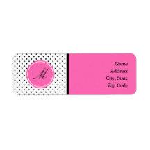 Monogram Black and White Polka Dot with Hot Pink Custom Return Address Labels