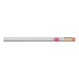 Monogram Black and White Polka Dot with Hot Pink Pencil