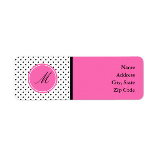 Monogram Black and White Polka Dot with Hot Pink Return Address Label