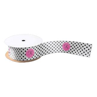 Monogram Black and White Polka Dot with Hot Pink Satin Ribbon