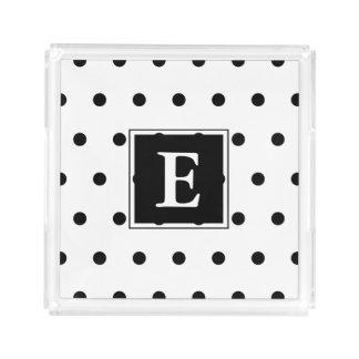Monogram   Black And White Polka Dots Pattern Acrylic Tray