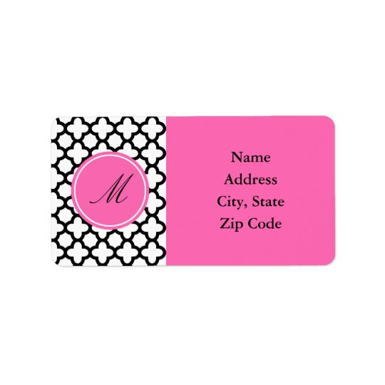 Monogram Black and White Quatrefoil Label