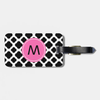 Monogram Black and White Quatrefoil with Hot Pink Luggage Tag