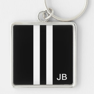Monogram Black and White Stripe Mens Keychain