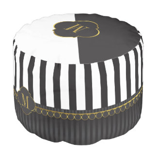 Monogram black and white striped and gold pouf
