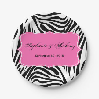 Monogram Black and White Zebra Print and Hot Pink Paper Plate