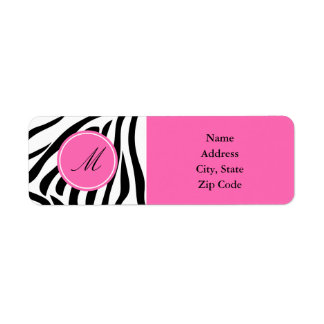 Monogram Black and White Zebra Print with Hot Pink