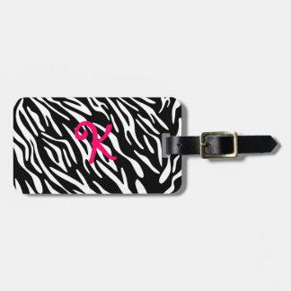 Monogram Black and White Zebra Stripe Luggage Tag