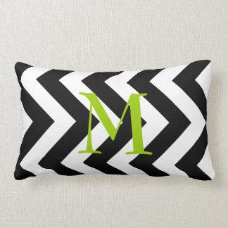 Monogram Black and White Zigzag Lumbar Pillow