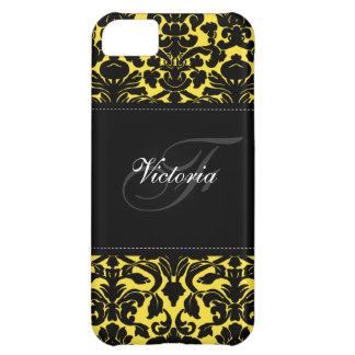Monogram Black and Yellow Damask iPhone 5 Case