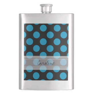 Monogram Black Blue Chic Polka Dot Pattern Flasks