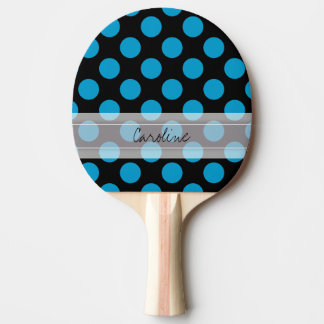 Monogram Black Blue Chic Polka Dot Pattern Ping Pong Paddle