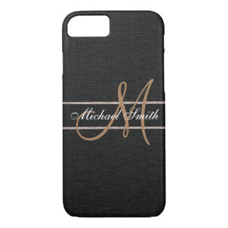 Monogram Black Burlap Linen Rustic Jute iPhone 8/7 Case