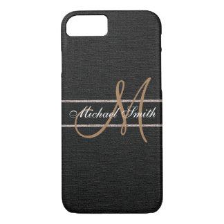 Monogram Black Burlap Linen Rustic Jute iPhone 8/7 Case