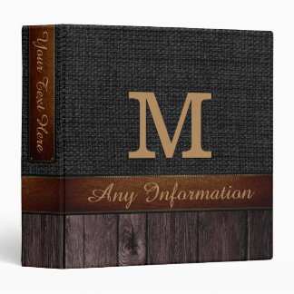 Monogram Black Burlap Rustic Jute Look Wood Binder