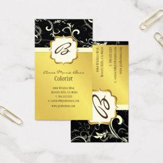 Monogram, black, cream swirls  business cards