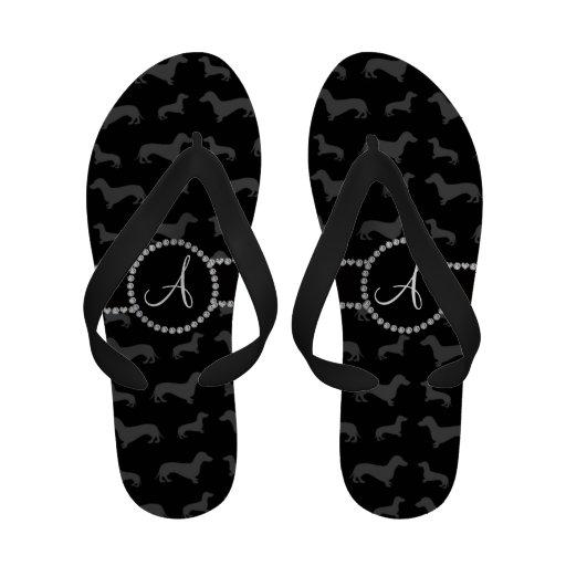Monogram black dachshund Flip-Flops